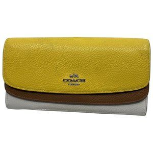 Coach Yellow White Grain Leather Wallet